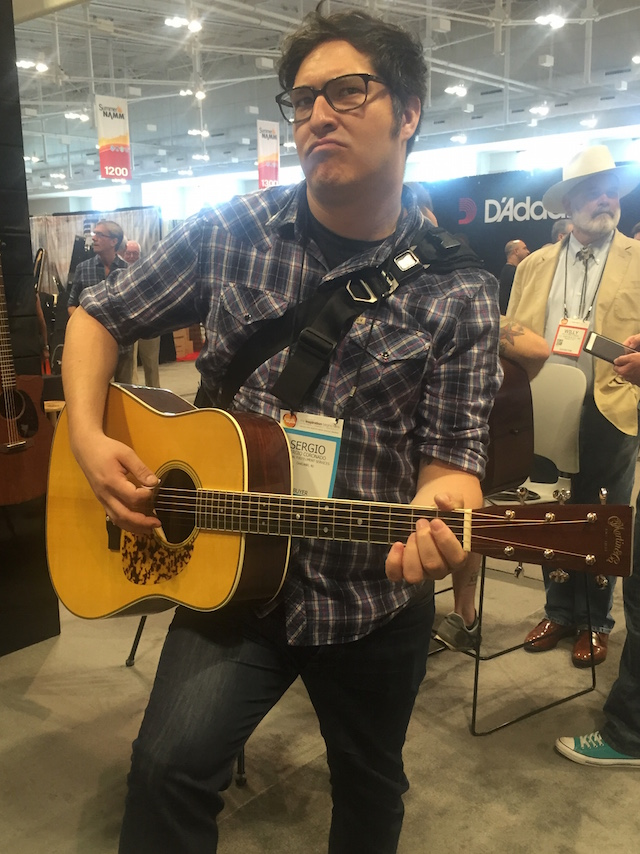 Sergio does his best cowboy impression at the Martin booth!