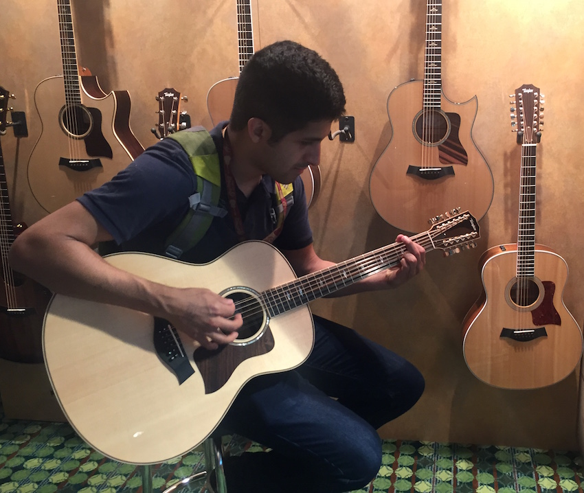 Mason strums on a Taylor 12-string.