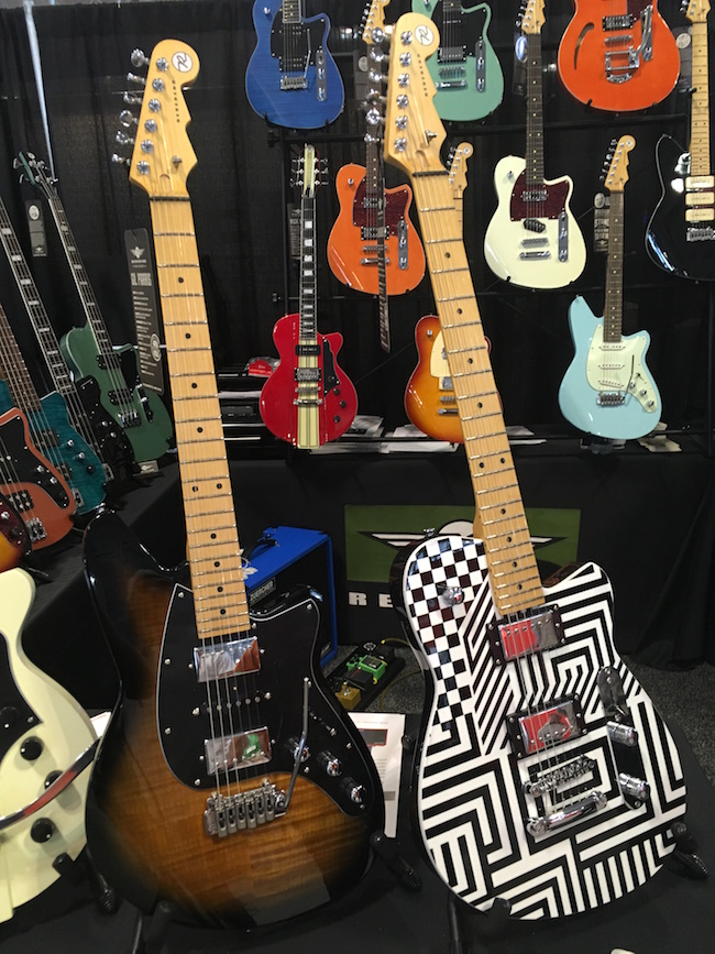 Here are some signature model Reverend Guitars! Left: Gil Parris. Right: Jenn Wasner of Wye Oak.