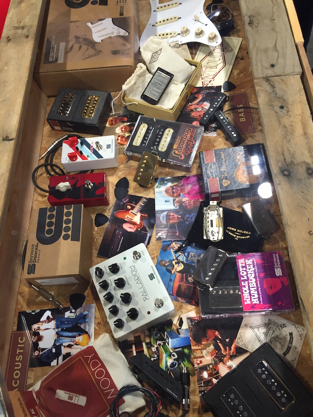 Check out this awesome spread of Seymour Duncan pickups and pedals.
