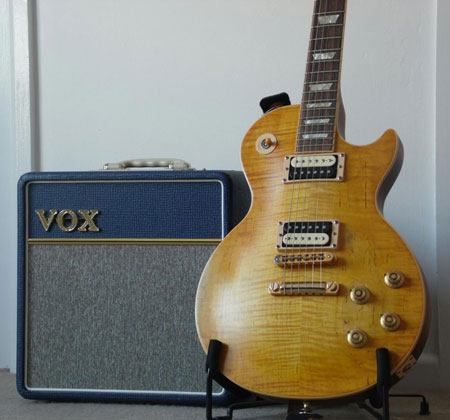 A solid bedroom setup featuring the Vox AC4C1
