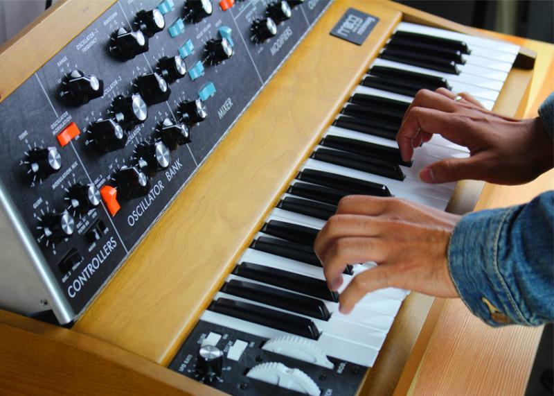AWOLNATION's Kenny Carkeet plays the Moog Minimoog Model D