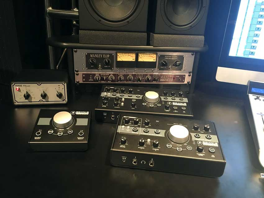 Clockwise from top: Mackie Big Knob Studio Plus, Studio and Passive