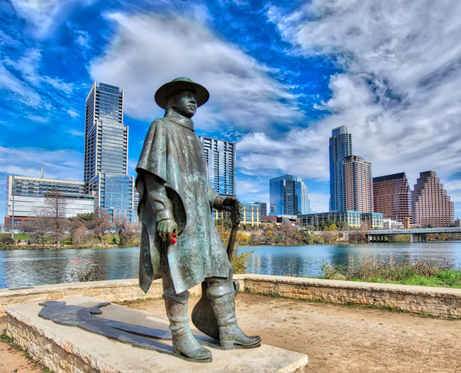 A statue of Stevie Ray Vaughan stands in Austin, TX. (Photo credit: sbmeaper1.jpg via Flickr)