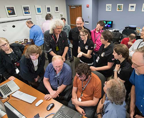 Brian May with the NASA New Horizons team. Photo Credits: NASA/JHUAPL/SwRI/Henry Throop