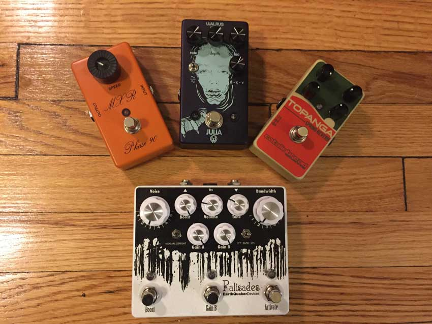 Signal flow shootout: MXR Phase 90 Script Logo, Walrus Audio Julia, Catalinbread Topanga, and EarthQuaker Devices Palisades.