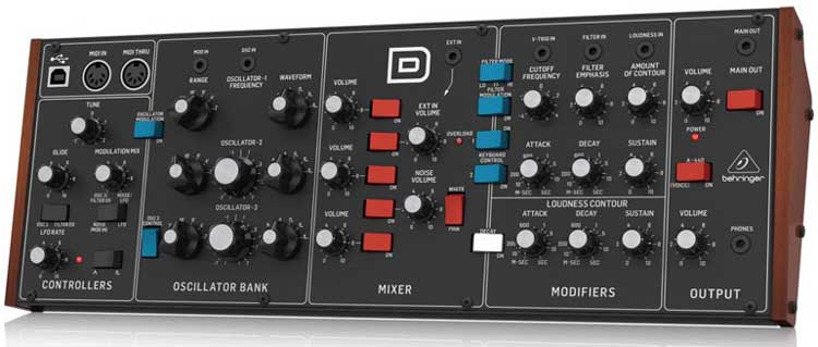 "Behringer ""D"" synth front panel view"