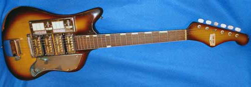 A vintage Zim-Gar guitar. Note the troublesome switches near the pickups.