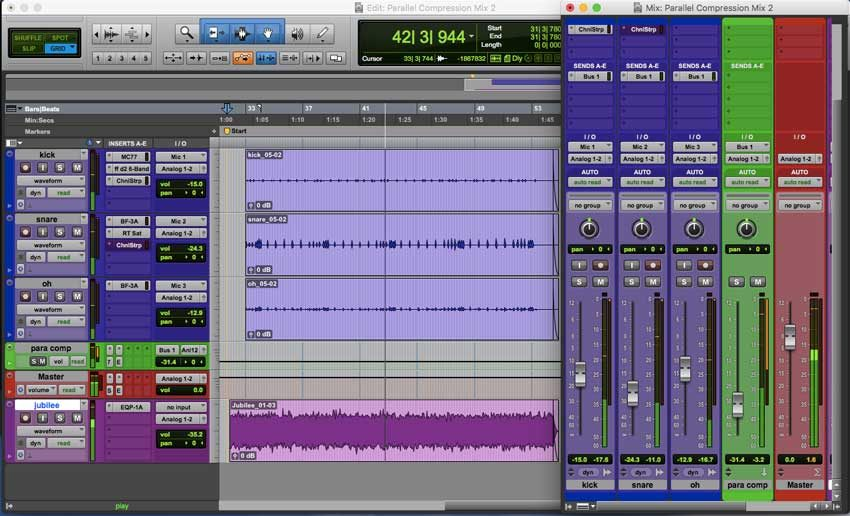 Parallel Compression Pro Tools Edit Window