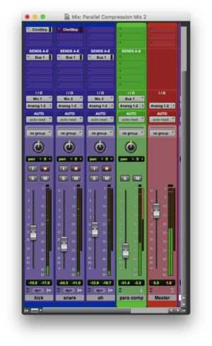 The three drum tracks bussed to the parallel compression track