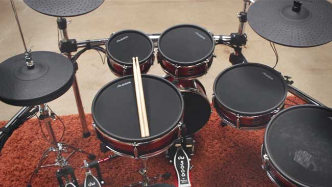 An overhead look at the Alesis Strike Pro Kit