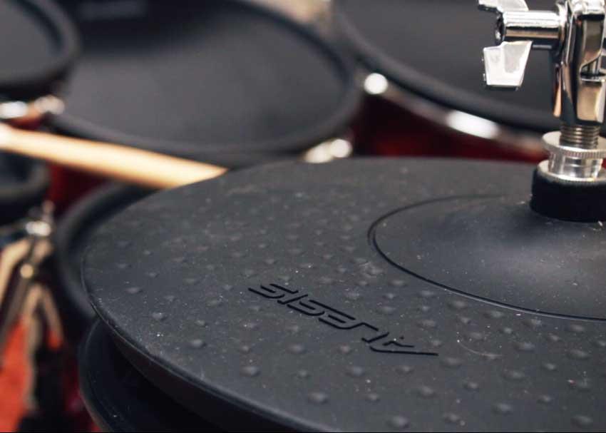 The Alesis Strike Pro kit features 2-zone crashes and a 3-zone ride cymbal