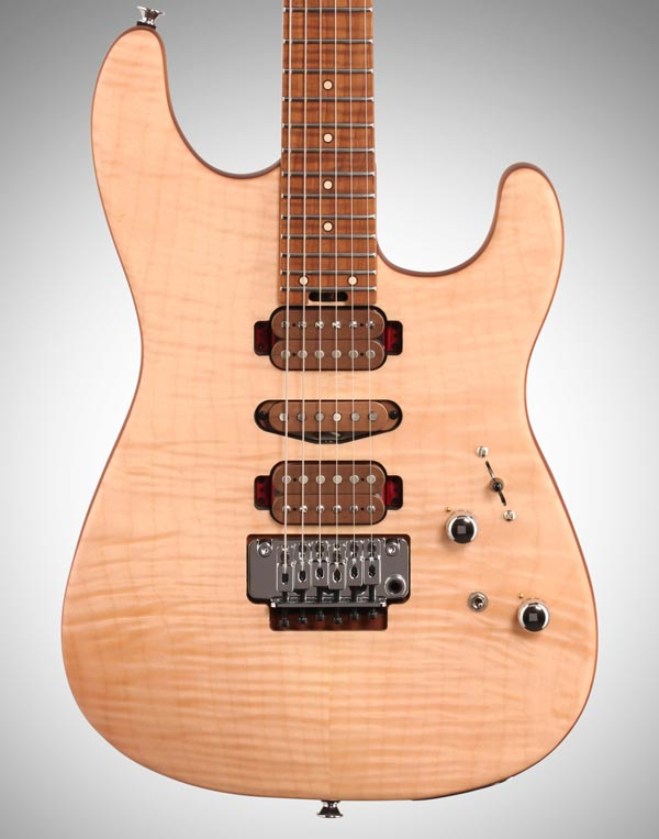 A flame maplet top (and roasted maple fretboard) on the Charvel Guthrie Govan