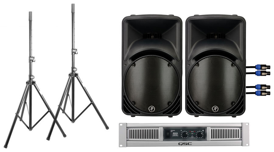 A pair of Mackie speakers matched with a QSC power amp (plus cables and stands!) from zZounds