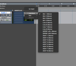 Choose the input source of your track.