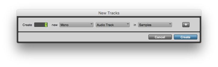Create a mono audio track.