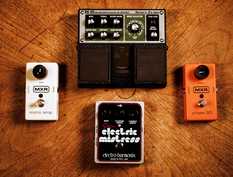 Clockwise from top: Boss RE-20, MXR Phase 90, EHX Electric Mistress, MXR Micro Amp