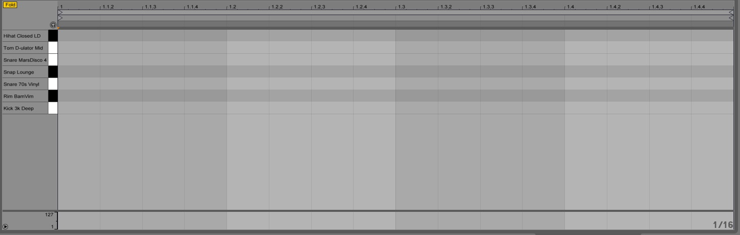 Ableton Drum Rack piano roll
