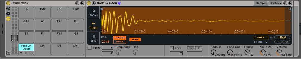 Ableton Drum Rack sample drop