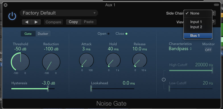 The snare bus send will trigger the gate to only open the gate when the snare hits.