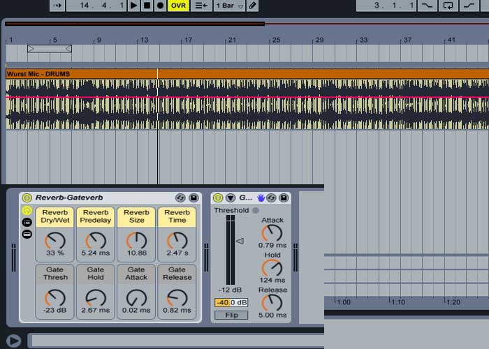 Adding reverb to a drum track in Ableton Live.