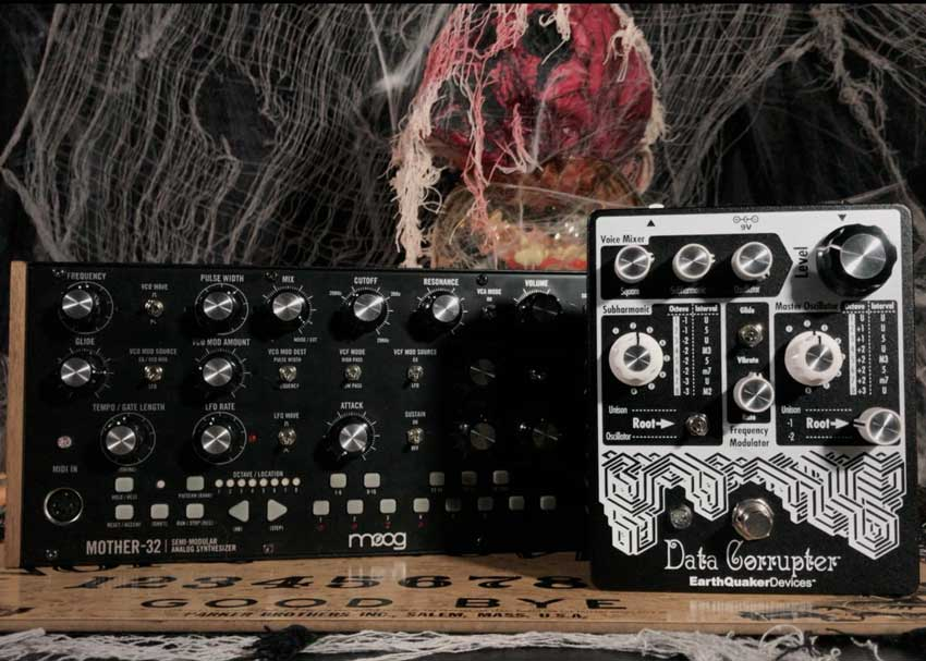 Moog Mother-32 analog synthesizer and EarthQuaker Devices Data Corrupter effects pedal