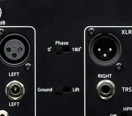Phase switch on a studio subwoofer