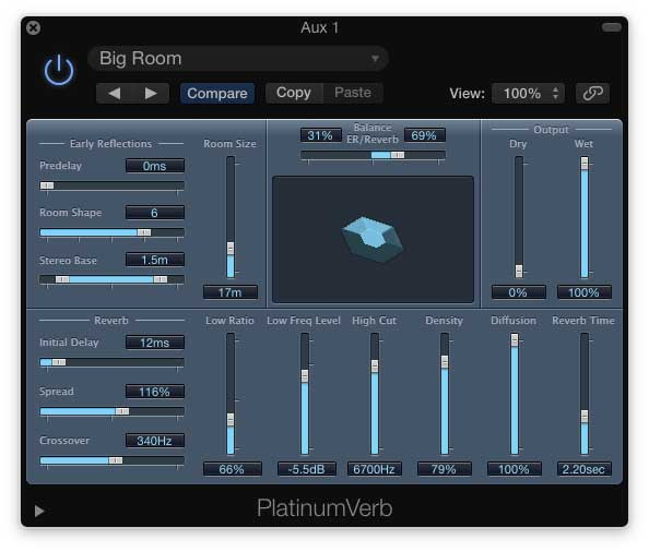 Using Logic X Pro's Platinum Reverb plugin, I created a big sounding space.