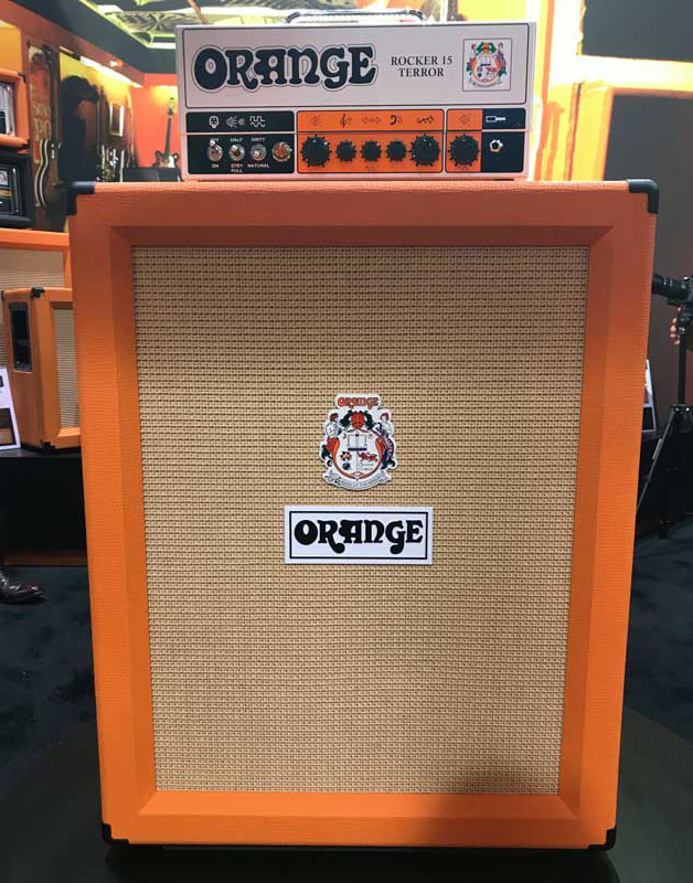 An Orange PPC212V with a Rocker 15 Terror head on top.