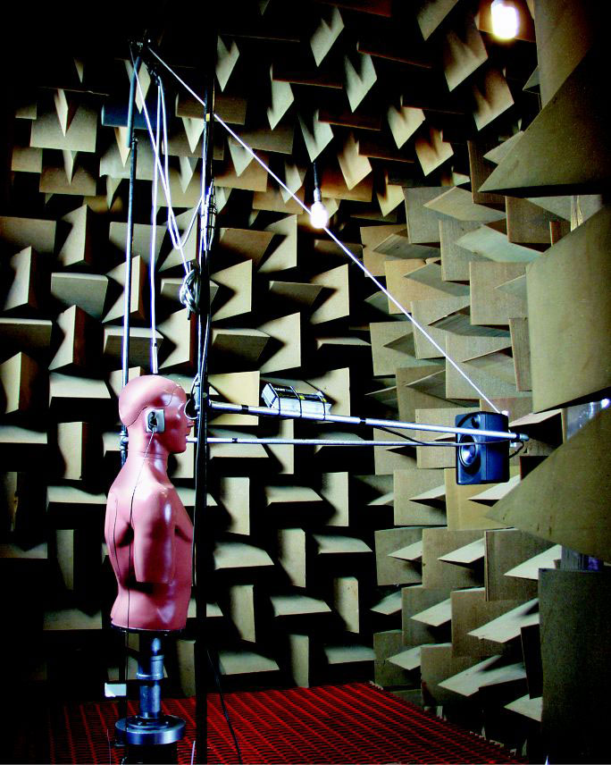 KEMAR in the anechoic chamber at Etymotic Research
