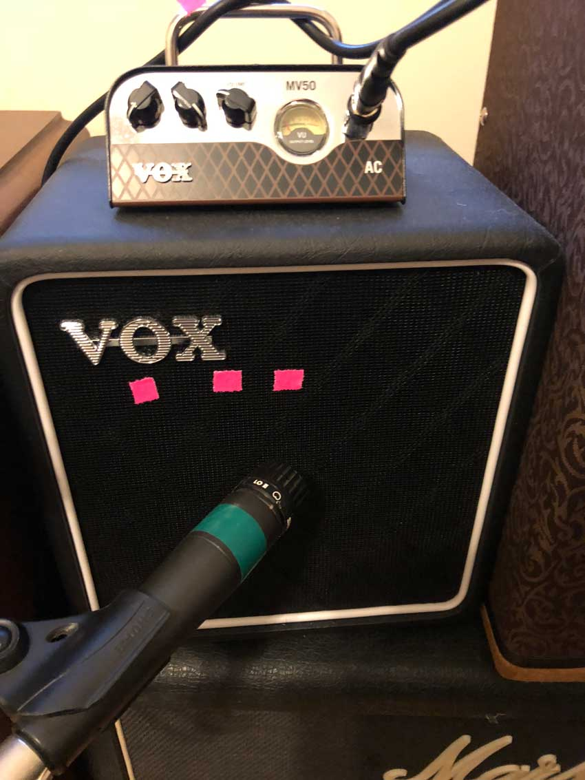 Example of off-axis microphone placement. The pink tape denotes the where I miked the center, middle, and edge of the speaker.