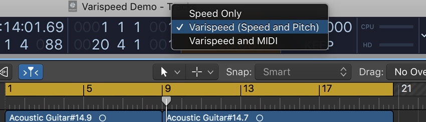 "You'll want the pitch to change too, so select ""Varispeed (Speed and Pitch)."""