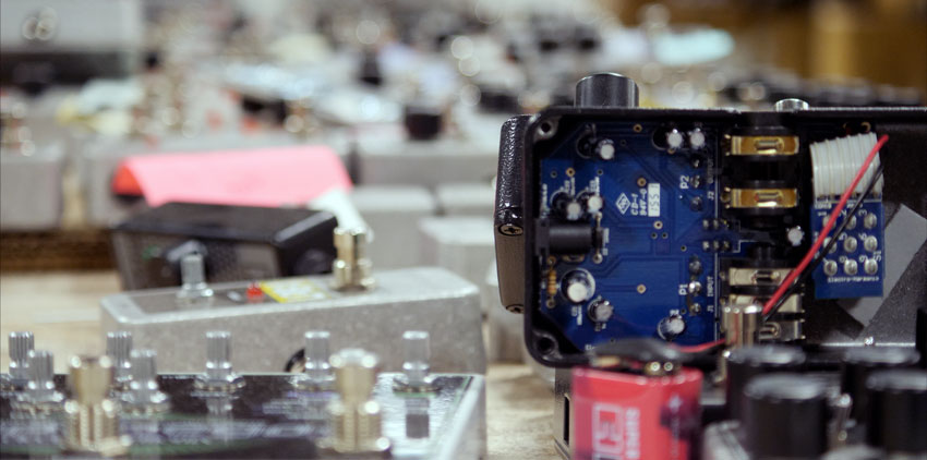 Pedals being assembled at EHX headquarters
