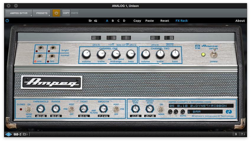 Settings for the Ampeg SVT-VR UAD-2 amp modeling plug-in.