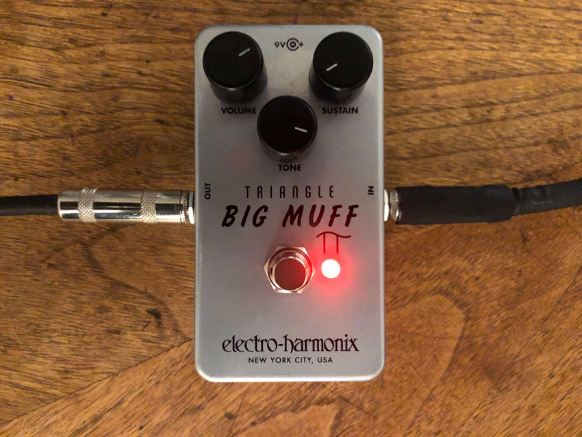 Close-up of the settings used on the Electro-Harmonix Triangle Big Muff.