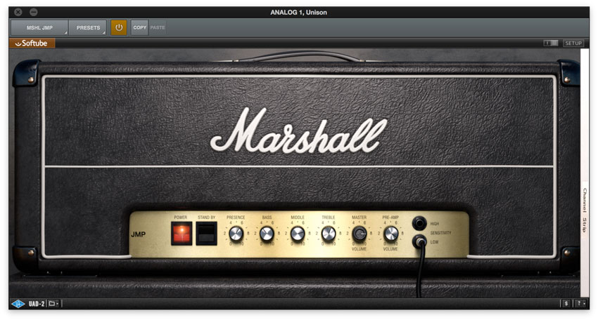 Marshall JMP 2204 UAD-2 plug-in settings.