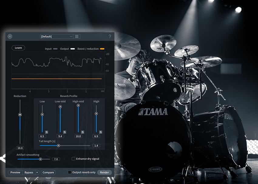 iZotope RX 7 De-Reverb on Drums