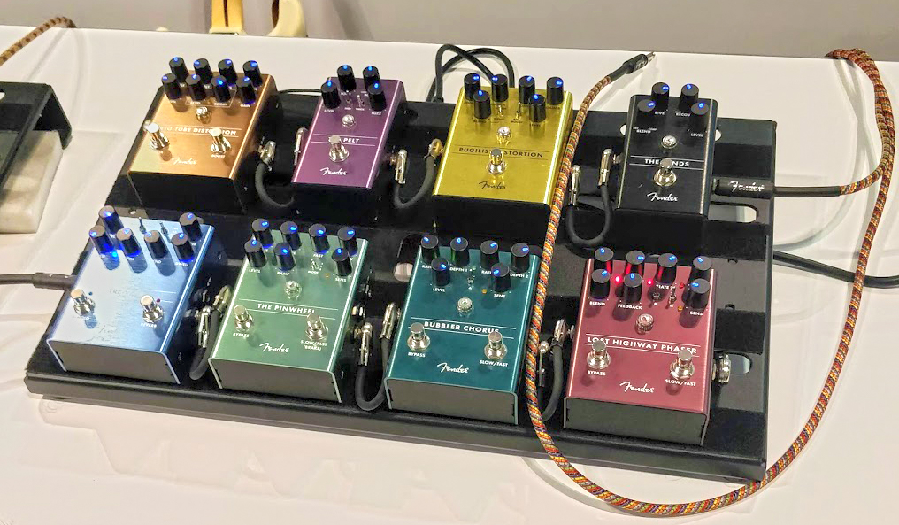 A few of Fender's new pedals at Summer NAMM 2019.