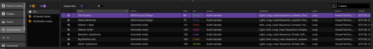 Serato Studio - audio library