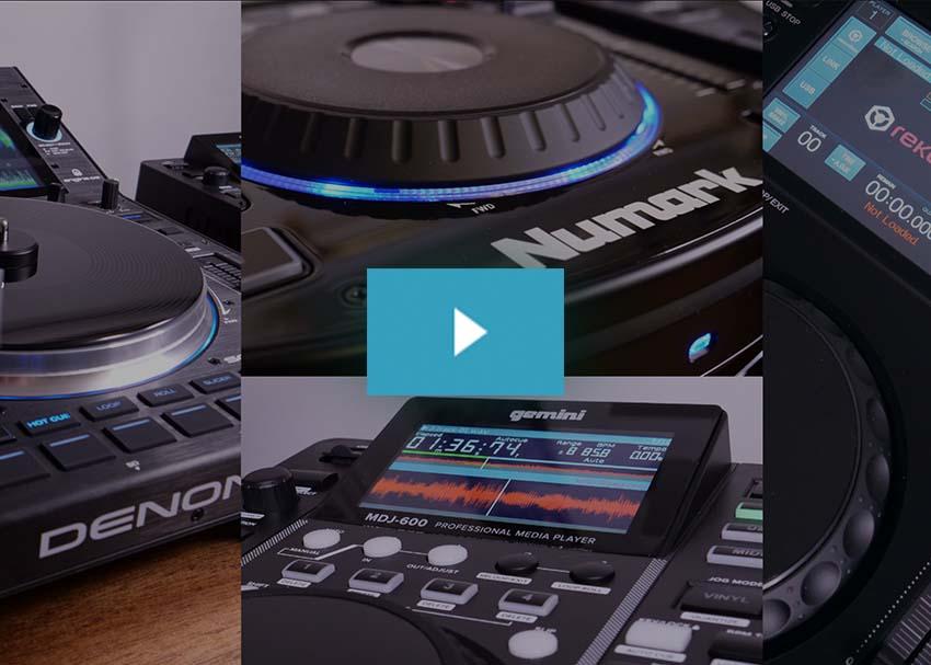 Numark NDX500, Gemini MDJ-600, Pioneer DJ XDJ-700, and Denon DJ SC6000M Prime